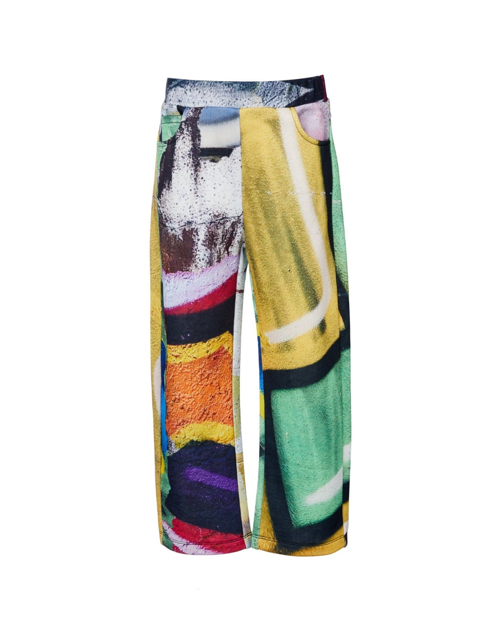 FLEECE BAGGY TROUSERS IN BRIGHT PRINT