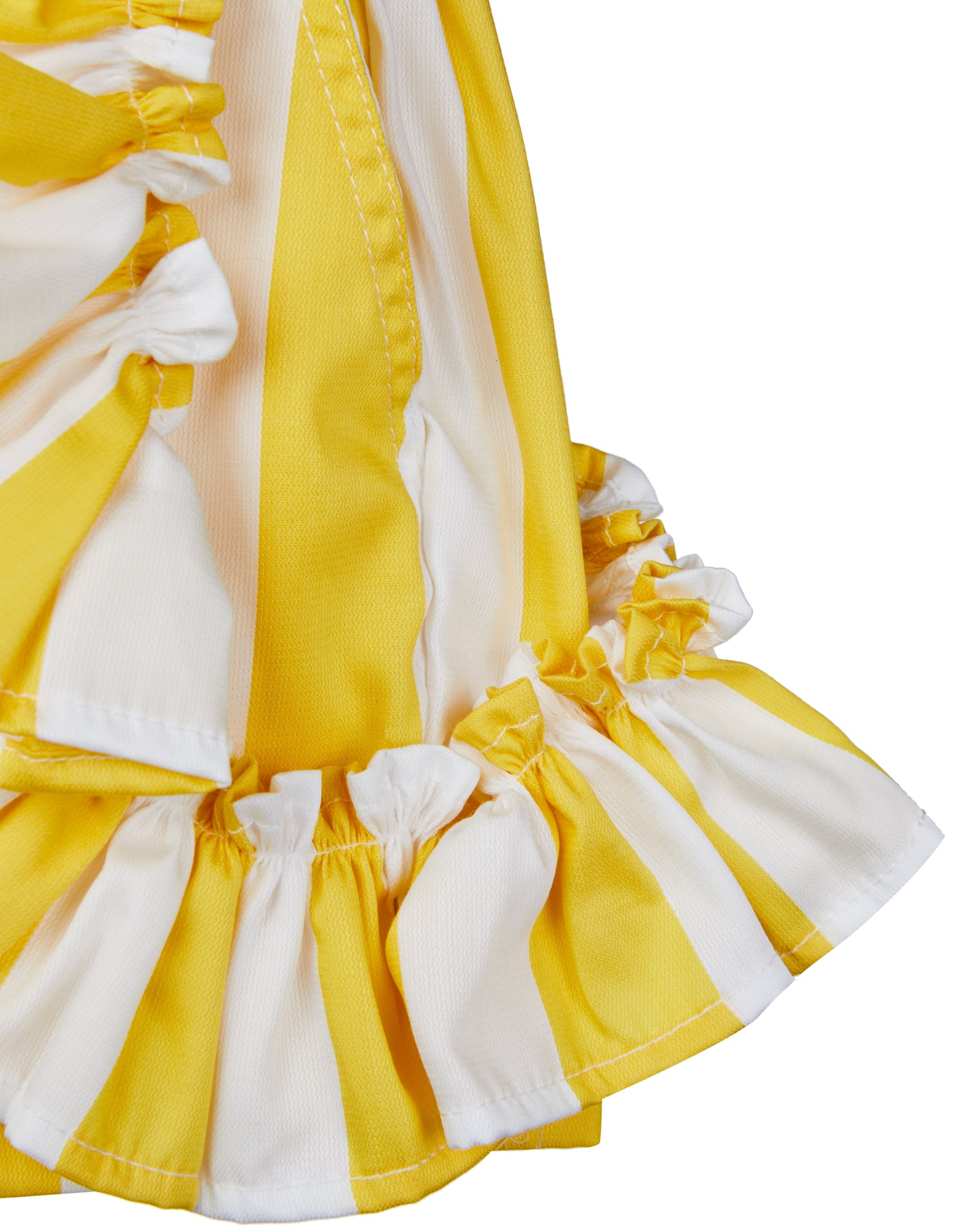 FRILL SHORTS IN YELLOW AND WHITE
