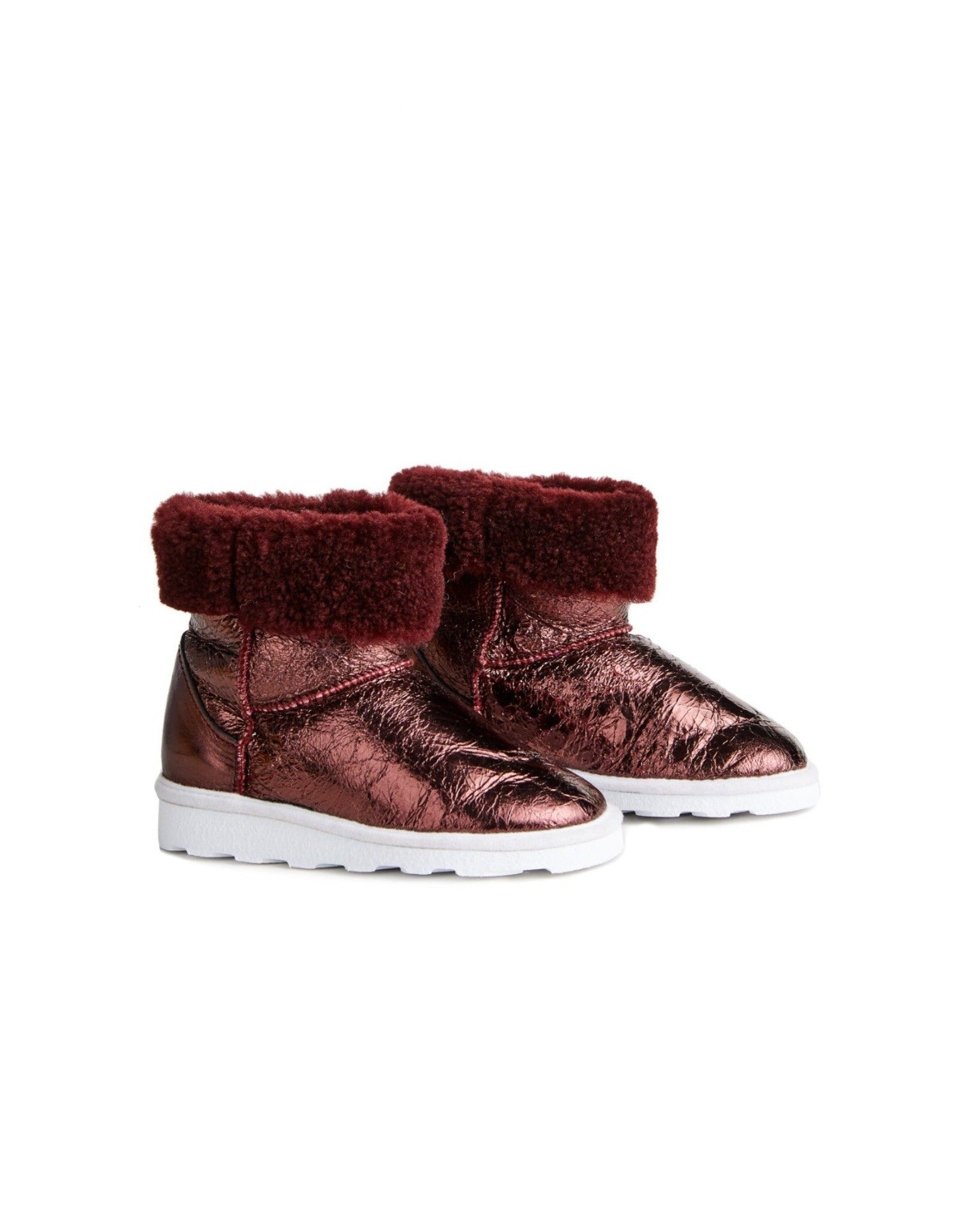 M'A KIDS LEATHER BOOTS IN BURGUNDY