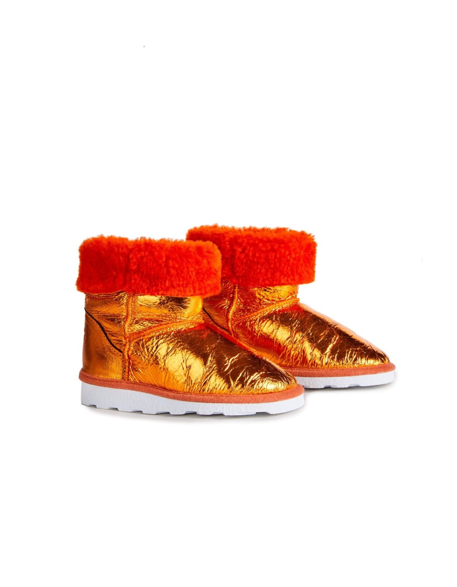 M'A KIDS LEATHER BOOTS IN ORANGE