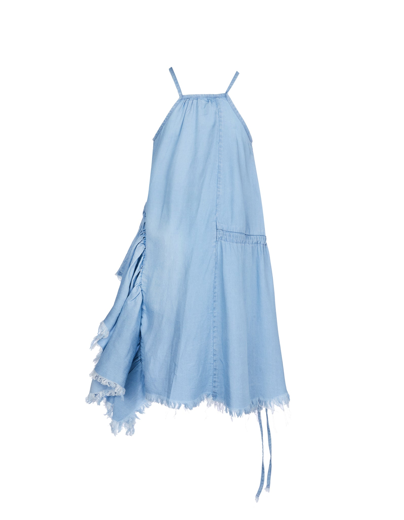 GATHERED DRESS IN BABY BLUE