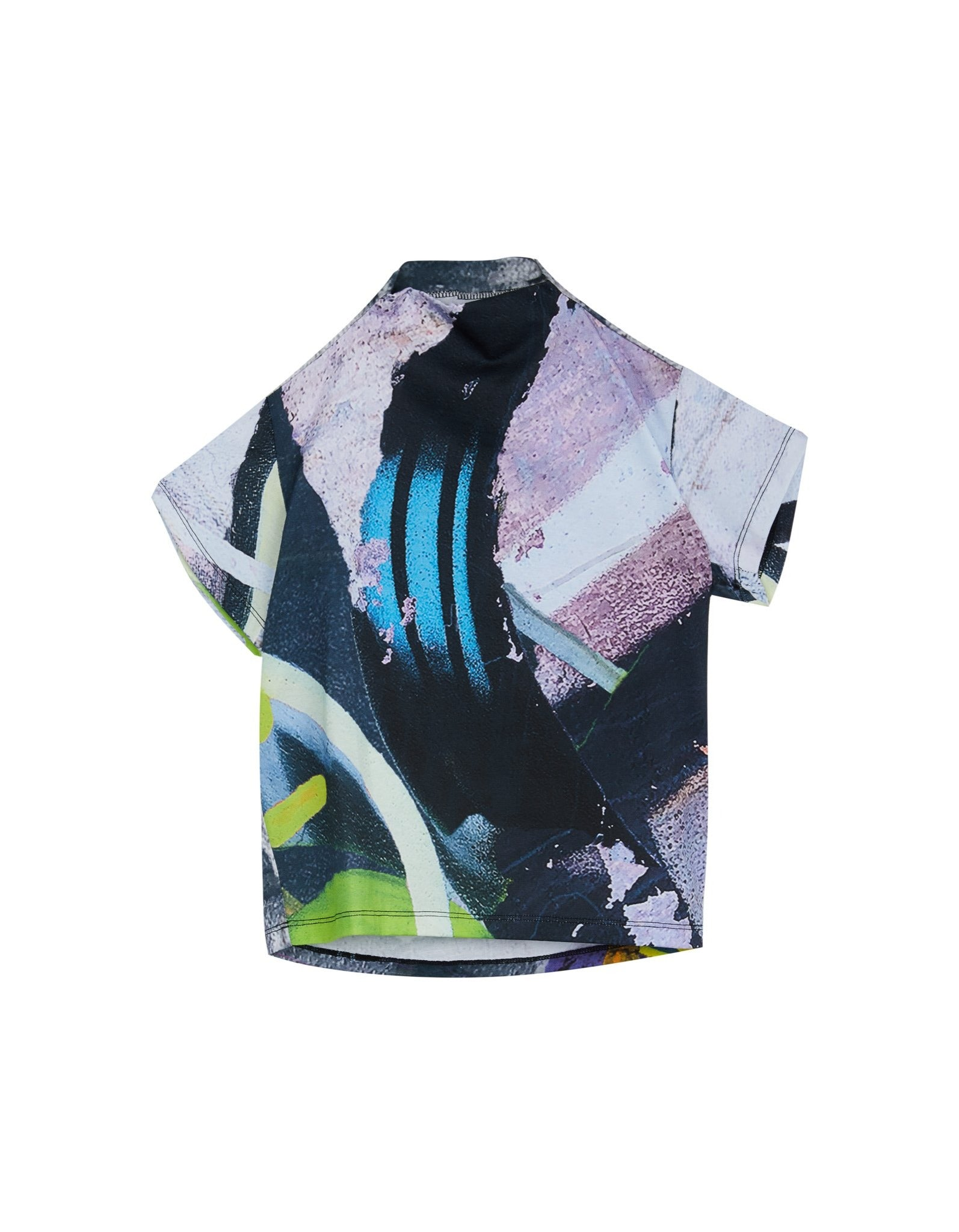 M'A KIDS DRAPED HEM T- SHIRT IN PASTEL PRINT