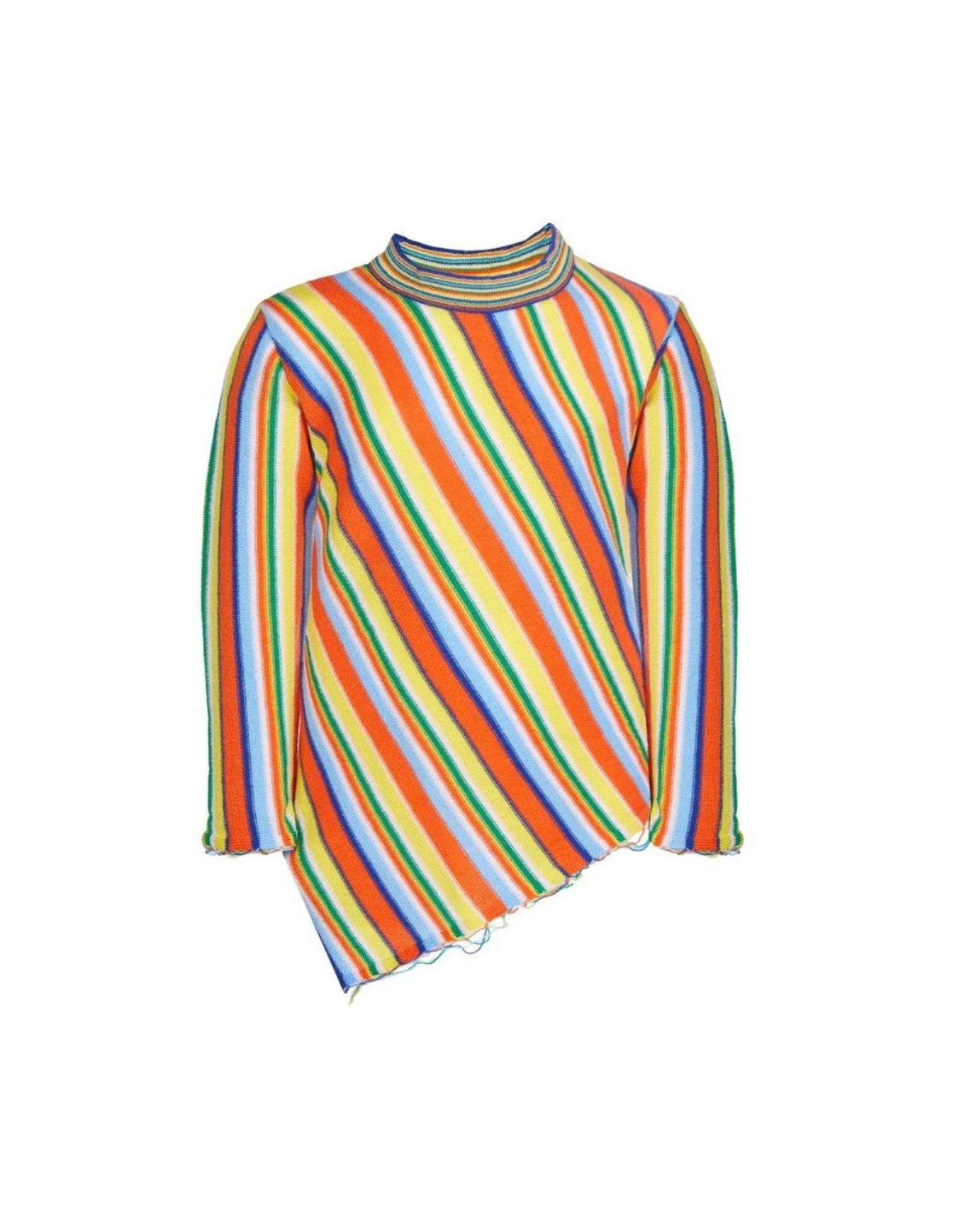 ASYMETRIC CREW NECK IN MULTI STRIPES