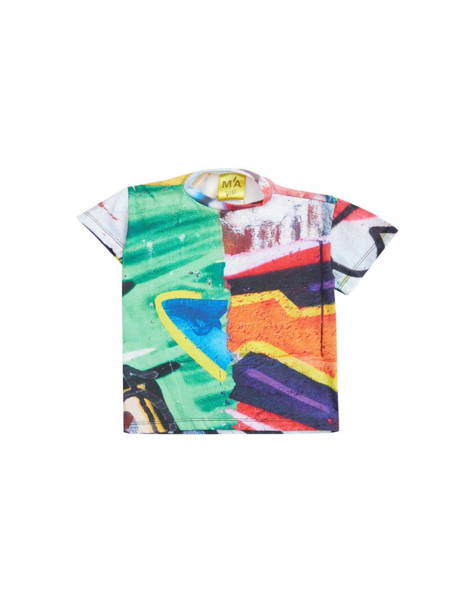 M'A KIDS DRAPED HEM T- SHIRT IN BRIGHT PRINT