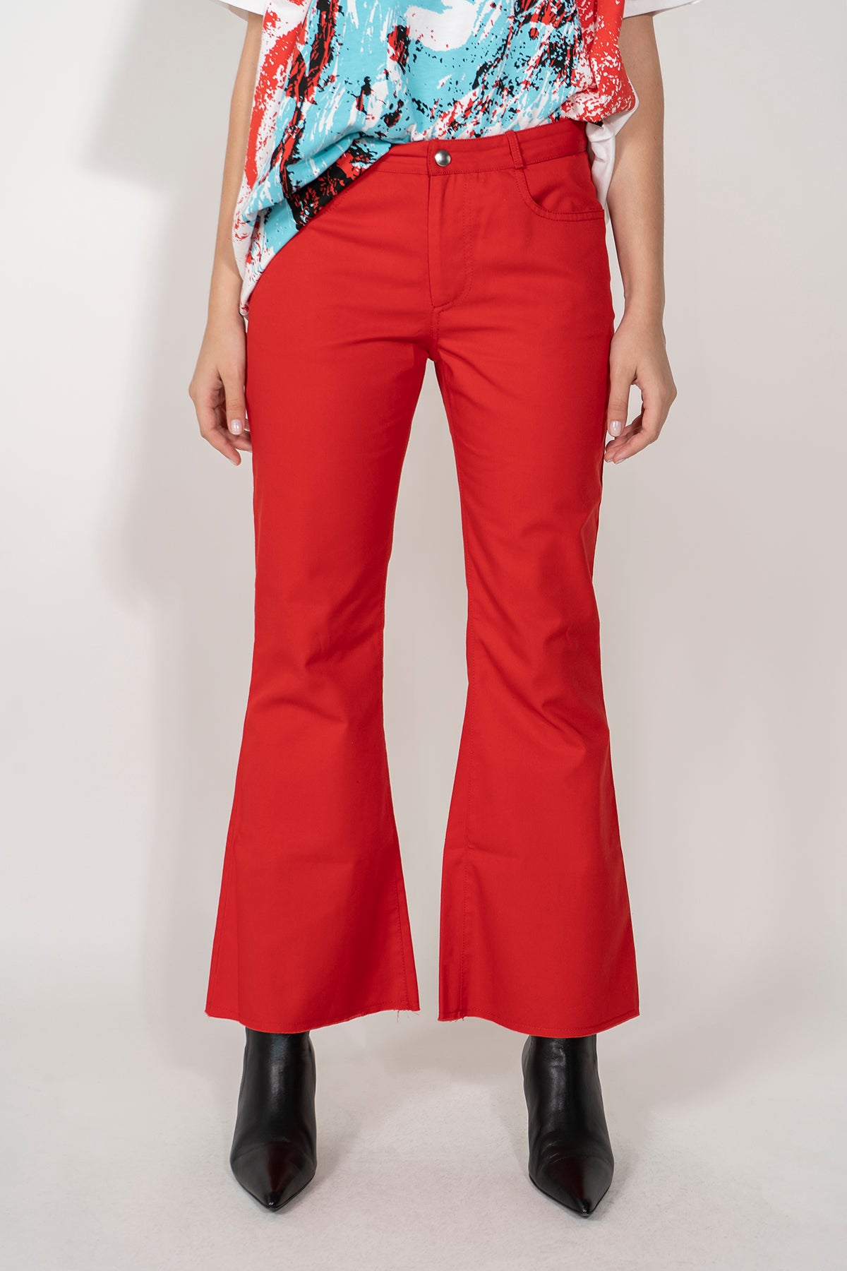 PRE-OWNED / RED CLASSIC FLARED CAPRIS MARQUES ALMEIDA