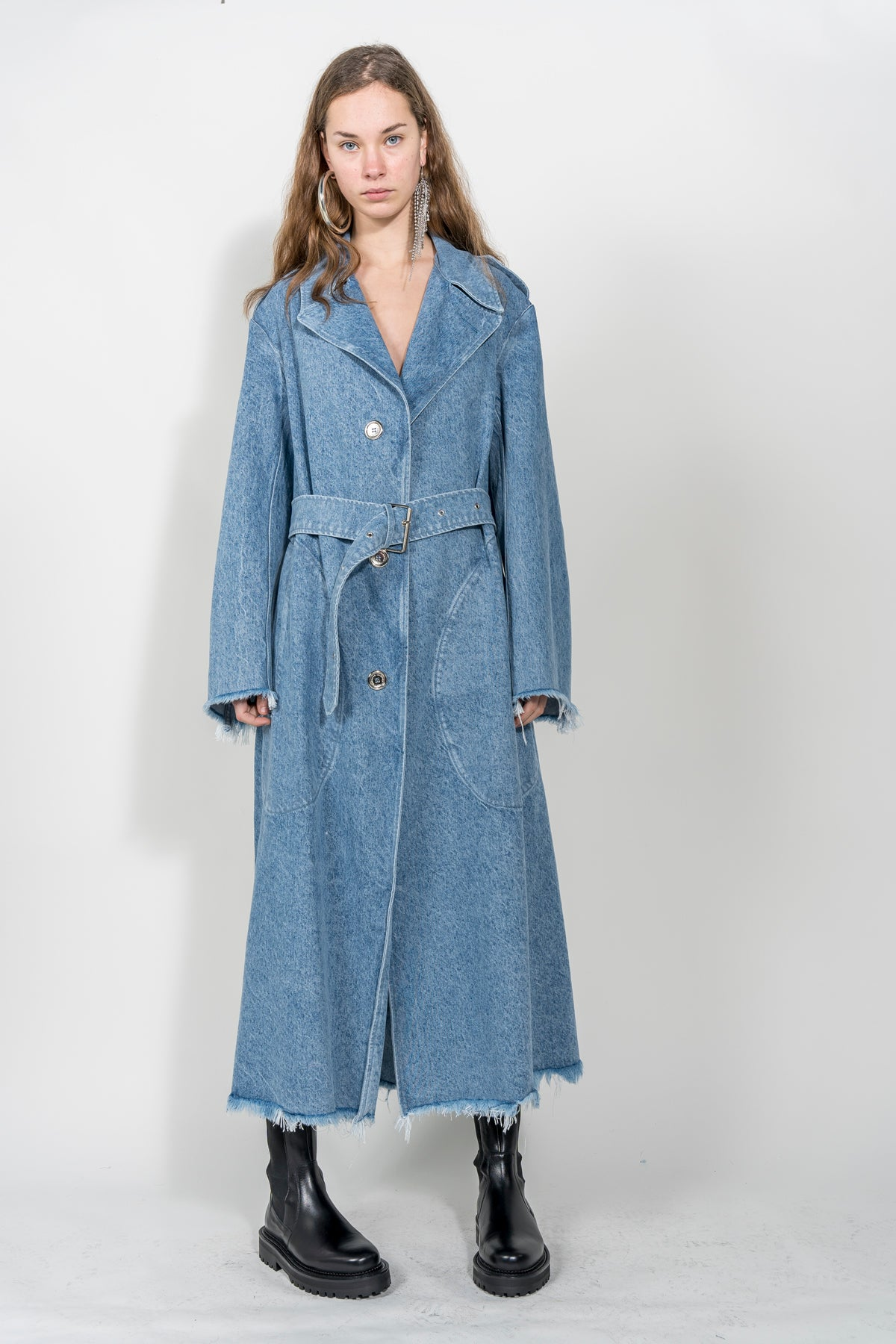 NAVY LONG TRENCH COAT marques almeida