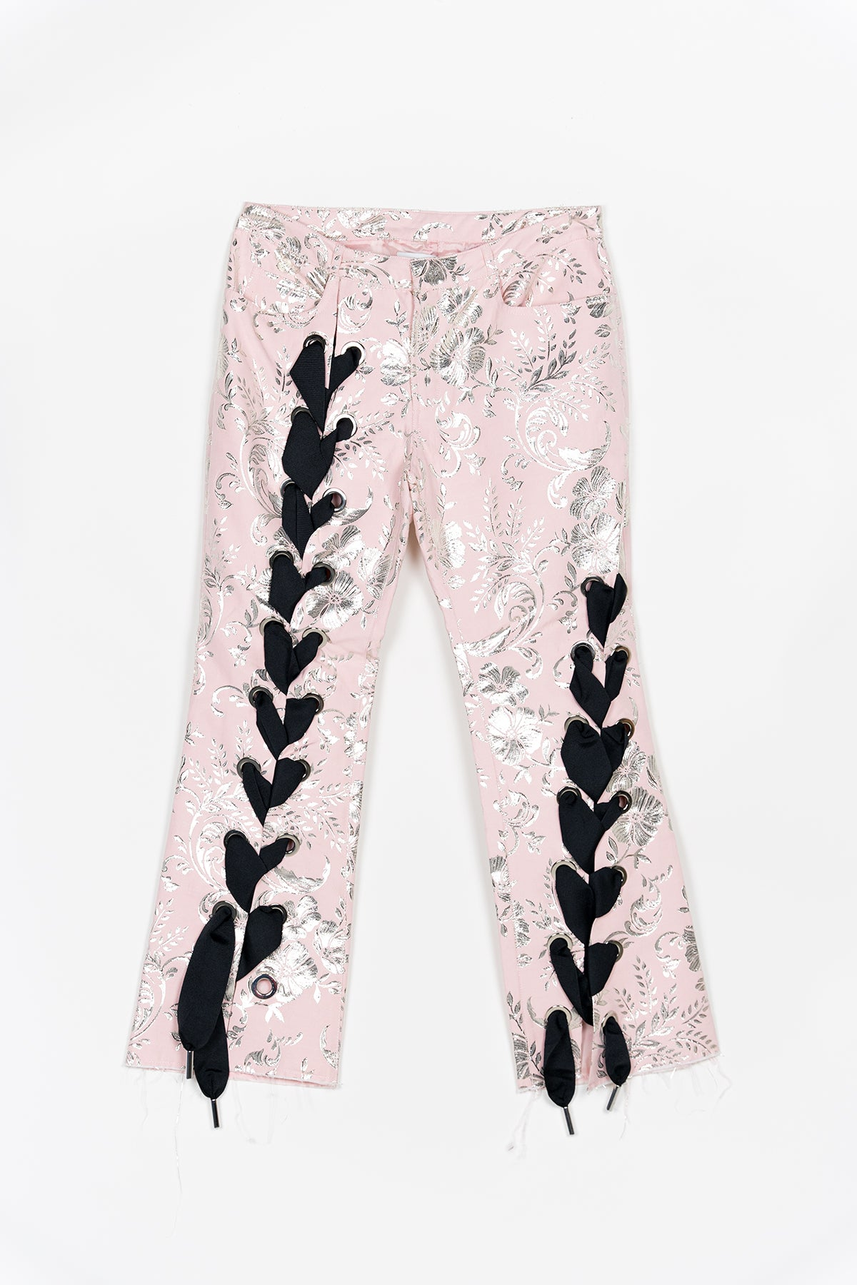 PINK AND SILVER CAPRI TROUSERS WITH CORSETING LACE DETAIL