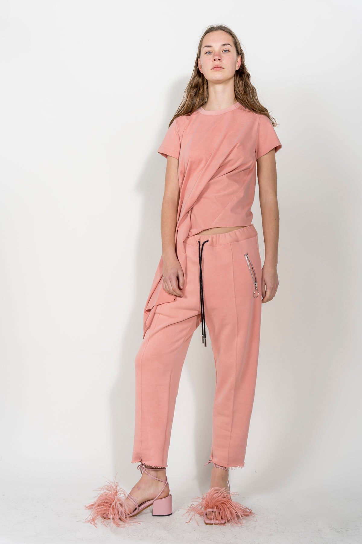 PINK DRAPED CAP SLEEVE T-SHIRT