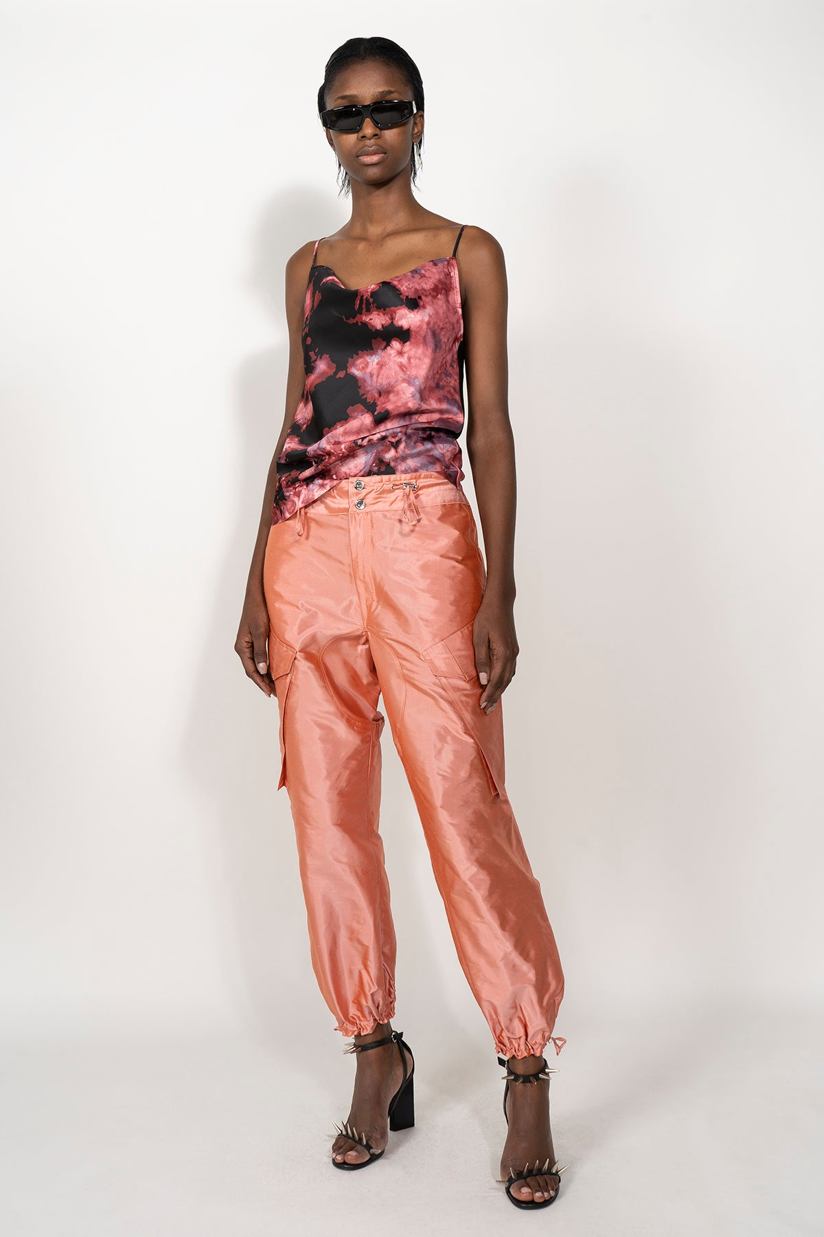 PINK ELASTIC WAISTBAND CARGO TROUSERS