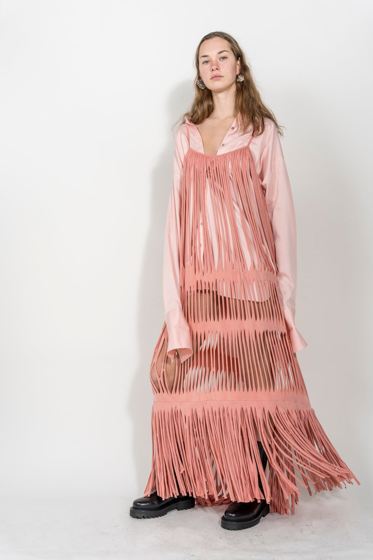 PINK NAKED FRINGE DRESS MARQUES ALMEIDA