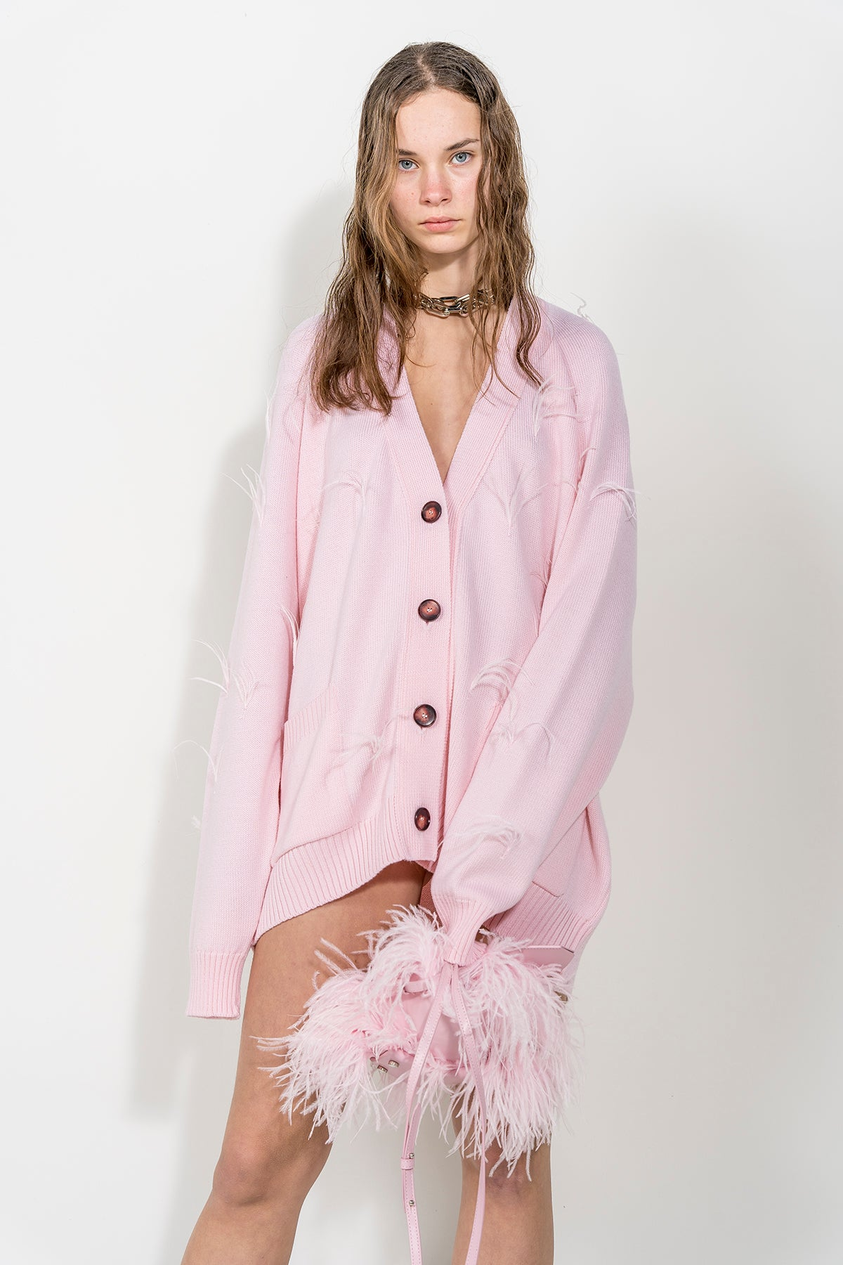 PINK OVERSIZED CARDIGAN WITH FEATHERS marques almeida.