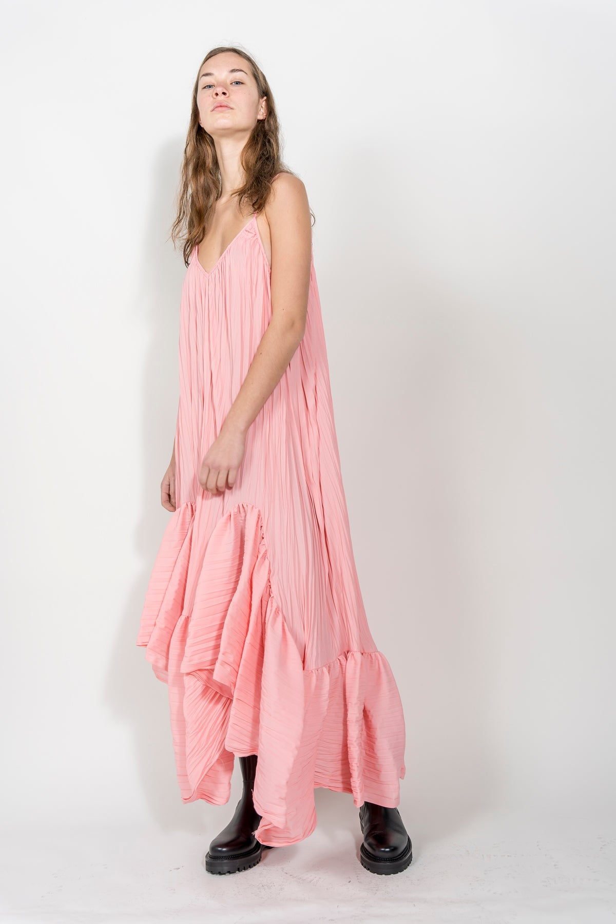 PINK V-NECK PLISSE DRESS marques almeida