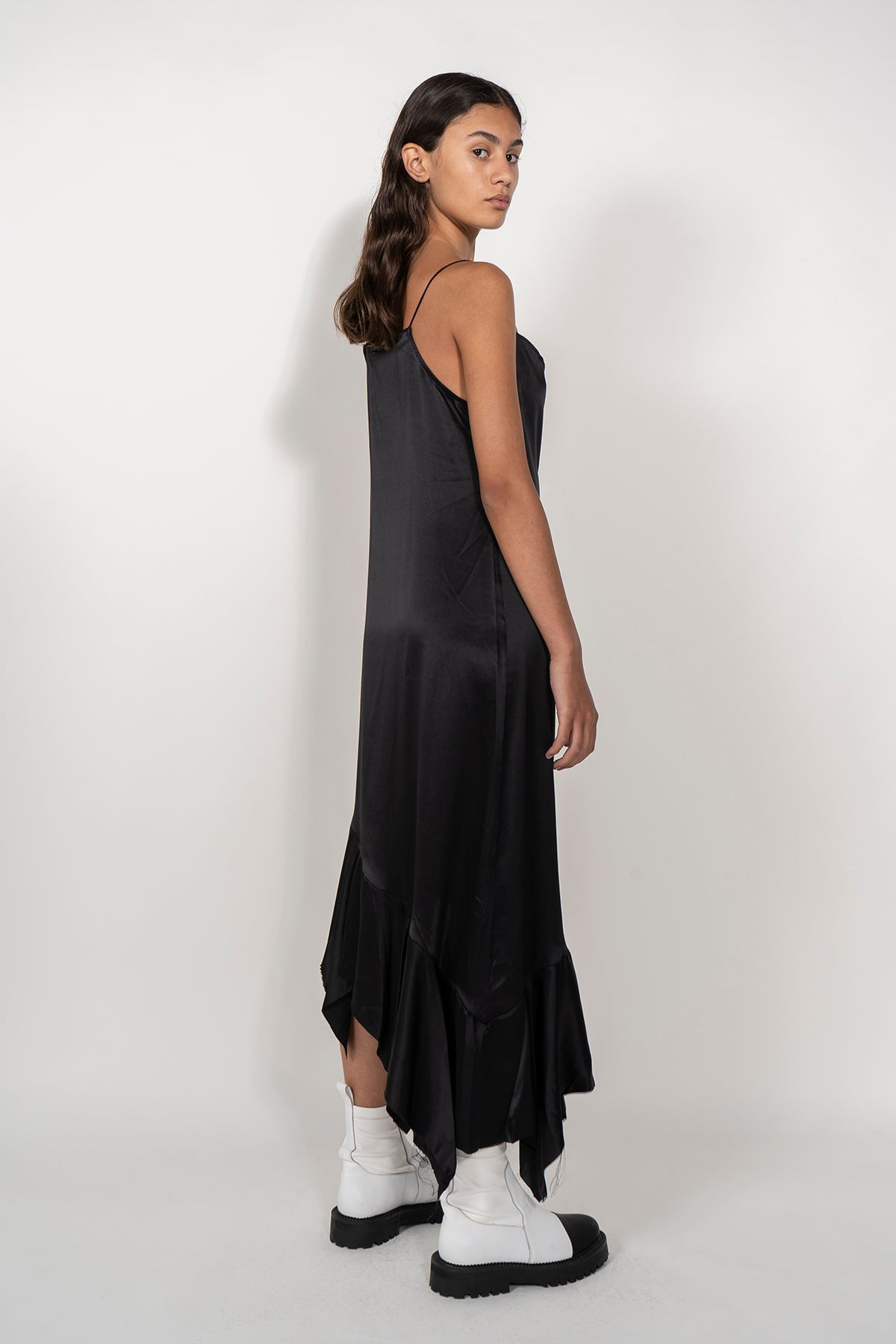 SPAGHETTI STRAP SILK DRESS WITH PEPLUM IN BLACK