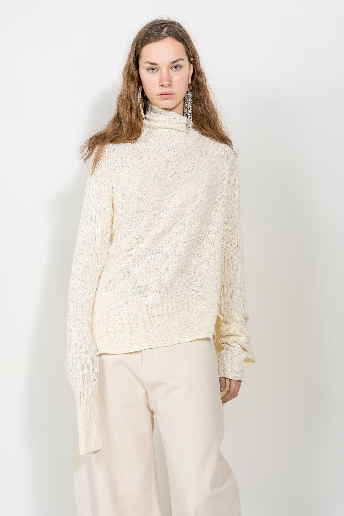 BEIGE COTTON DRAPED JUMPER