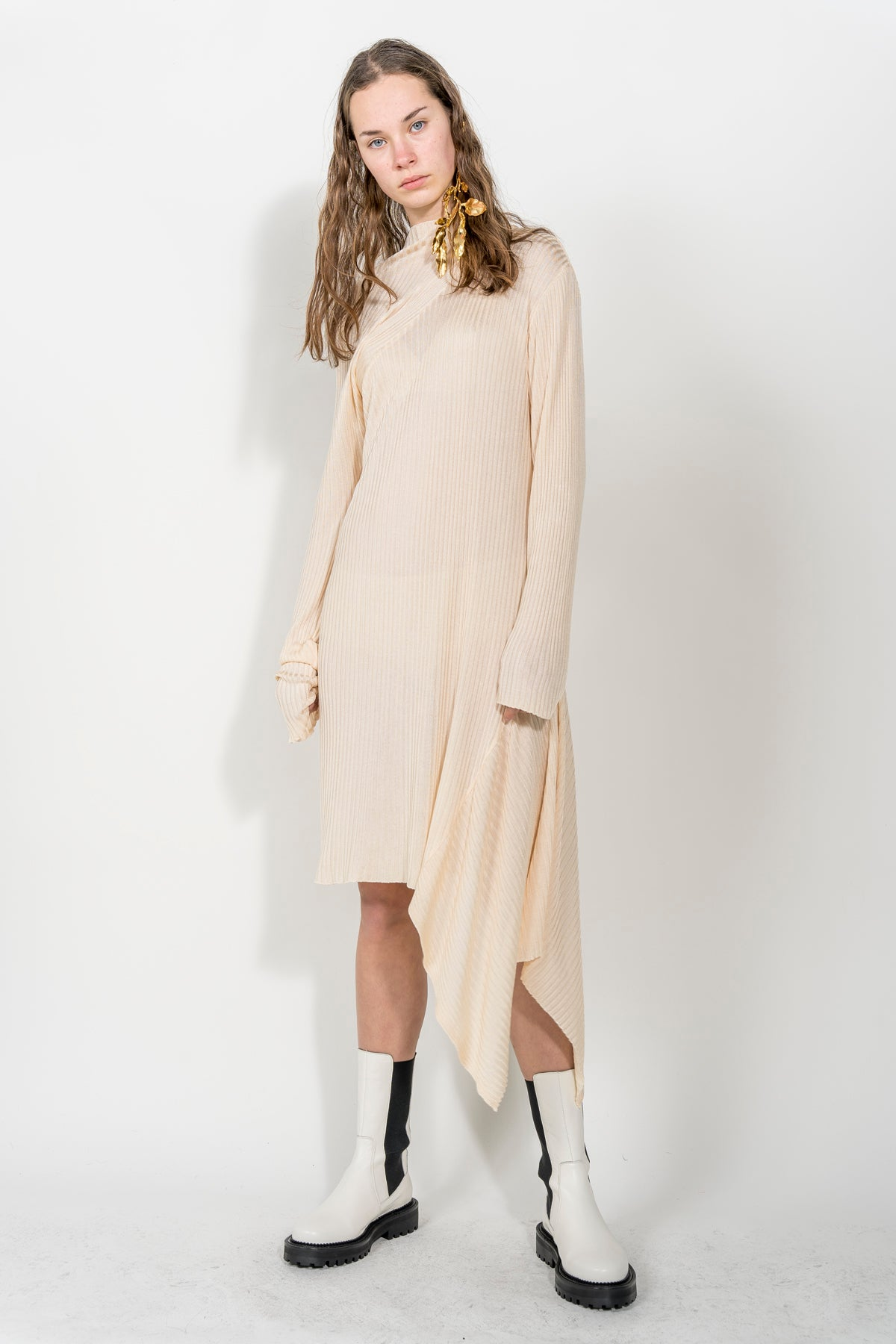 BEIGE DRAPED NECK DRESS