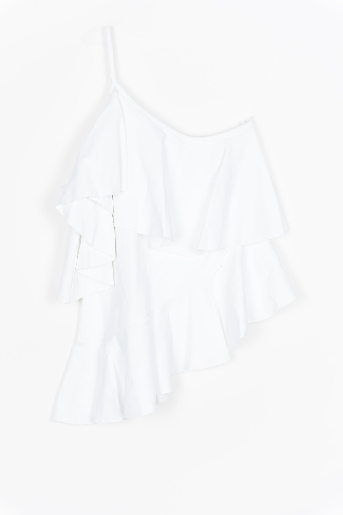 JERSEY ONE SHOULDER FRILL TOP