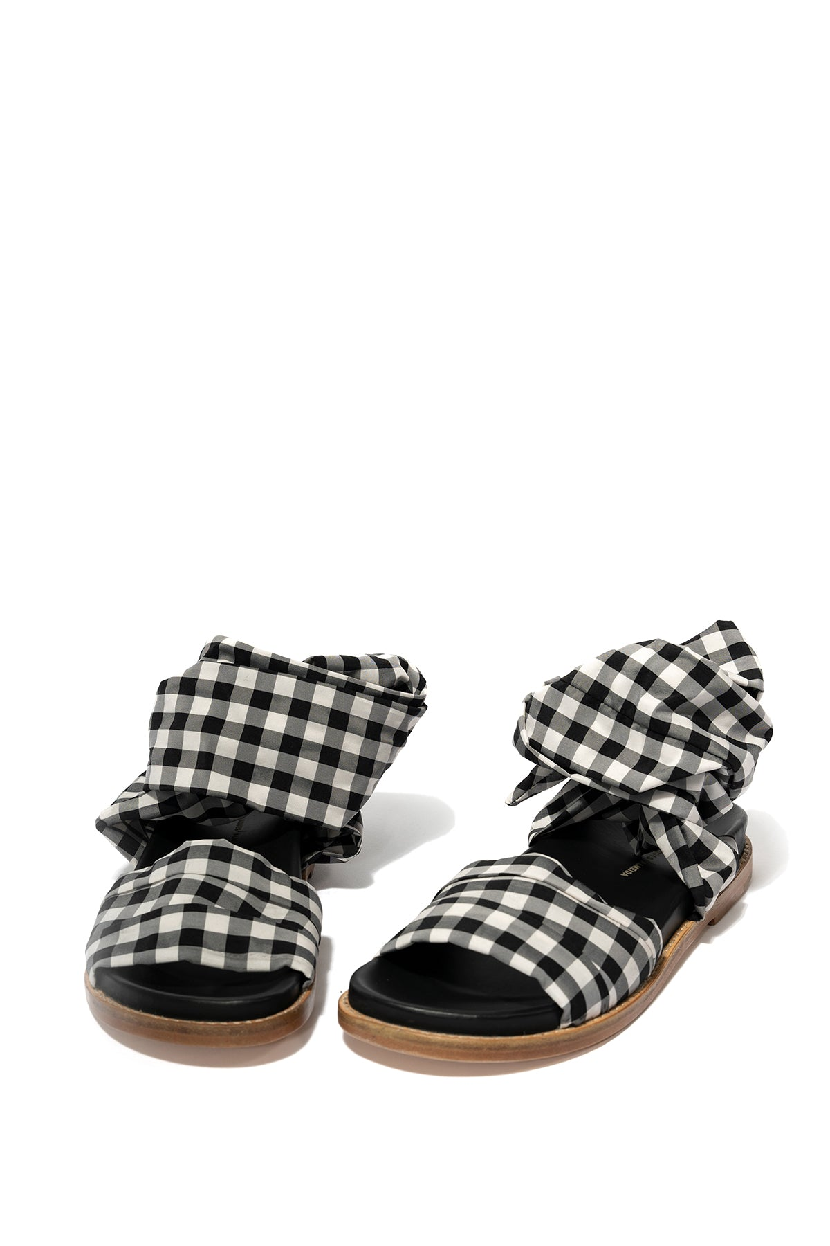 MARQUES ALMEIDA BLACK GINGHAM WRAP SANDAL