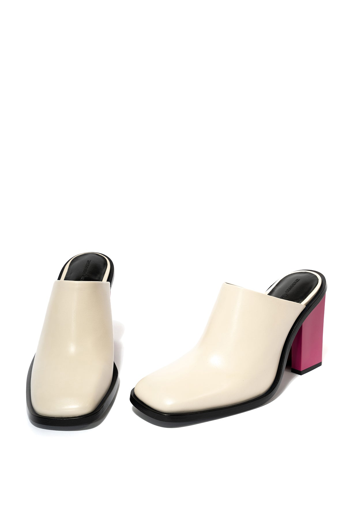 marques almeida LEATHER MULE W/ M'A HEEL