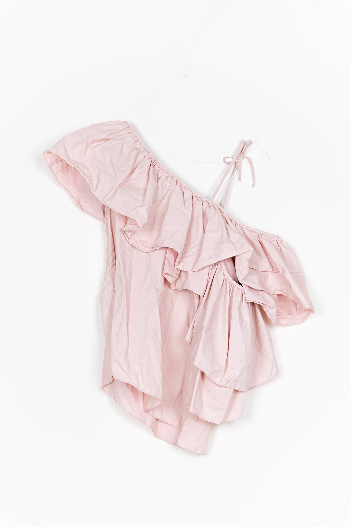 marques almeida PINK ONE SHOULDER RUFFLE TOP