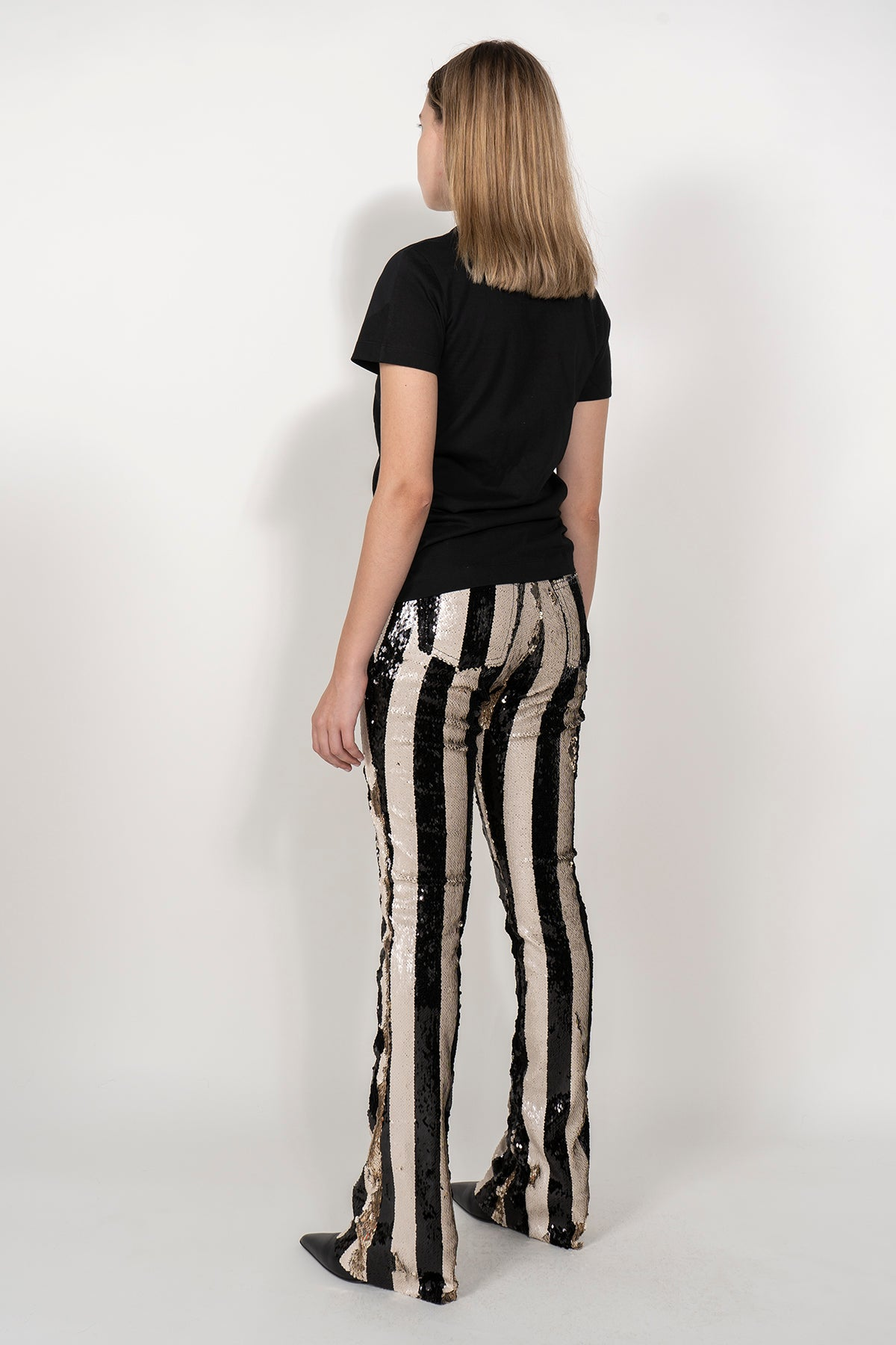 PRE-OWNED / SEQUIN TROUSERS IN BLACK & BEIGE marques almeida