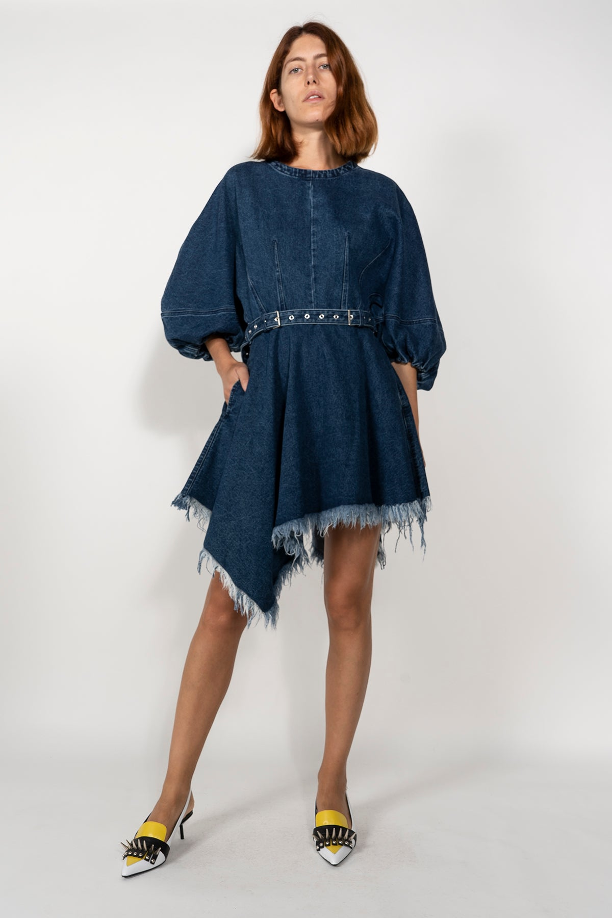 DENIM BALLOON SLEEVE DRESS