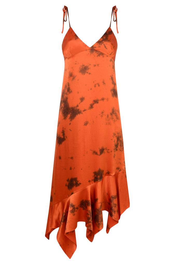 SILK ORANGE TIE DYE DRESS - marques-almeida-dev