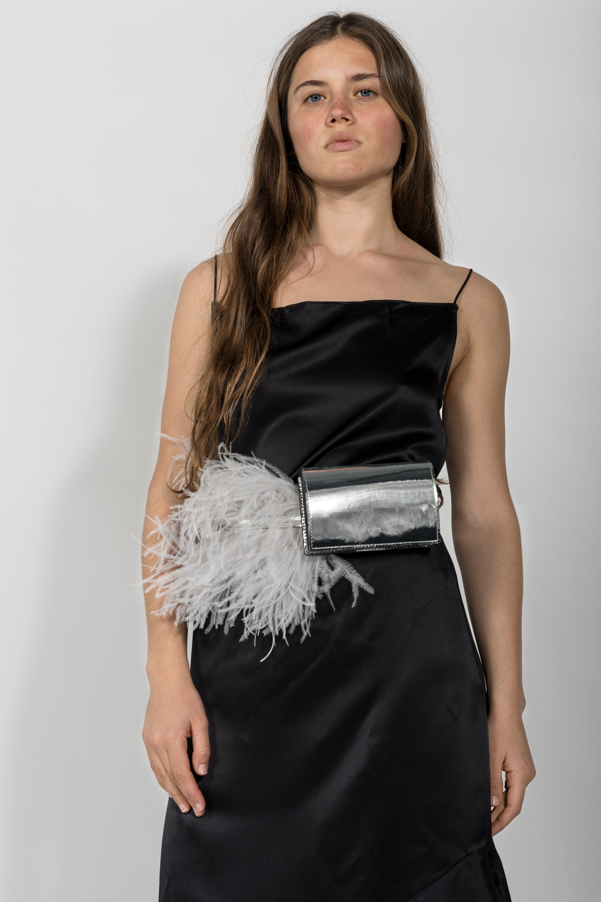 SILVER FEATHER BELT BAG