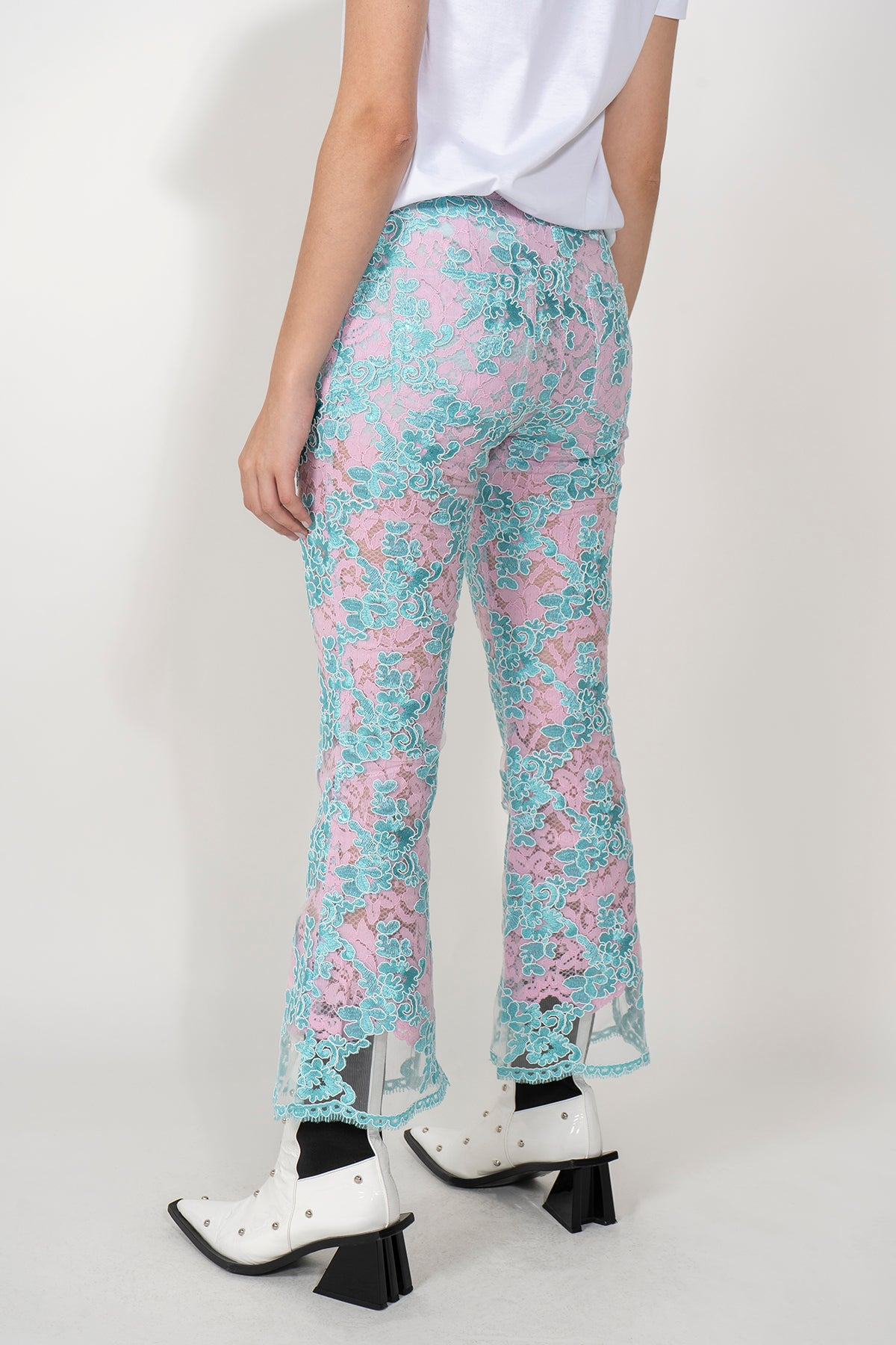 LACE CAPRI FLARE TROUSERS