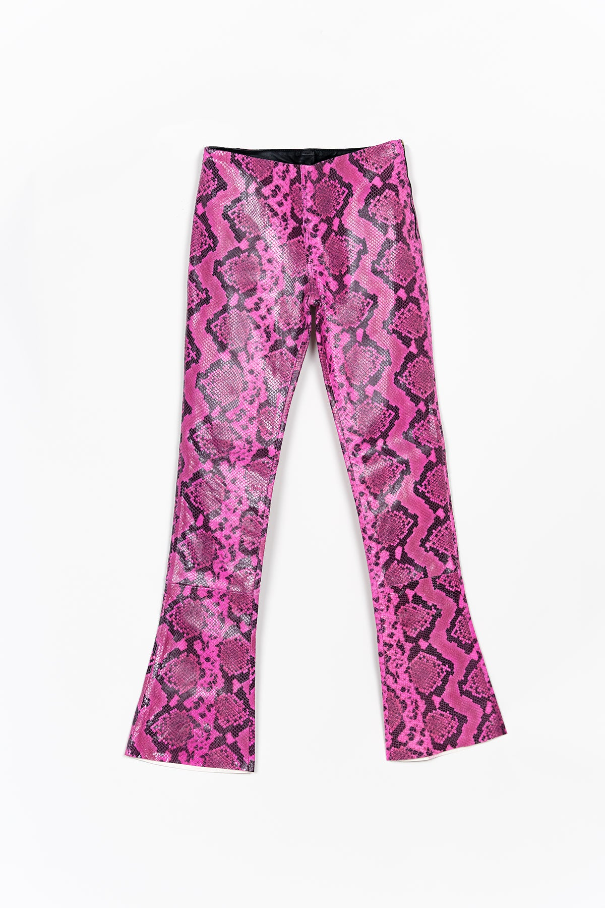 PINK BOOTCUT LEATHER TROUSER