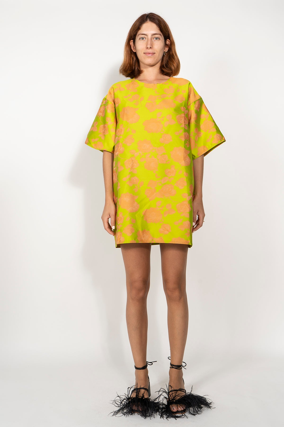 BROCADE OVERSIZED T-SHIRT DRESS IN LIME AND ORANGE