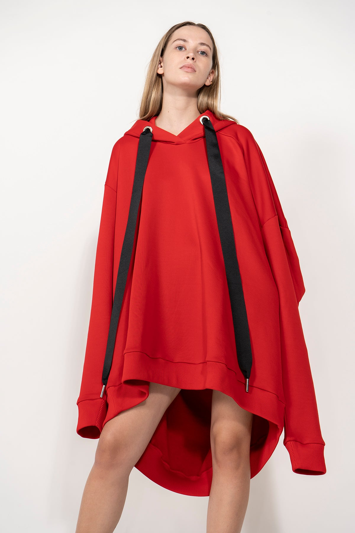 RED OVERSIZED ASYMMETRIC HOODIE marques-almeida