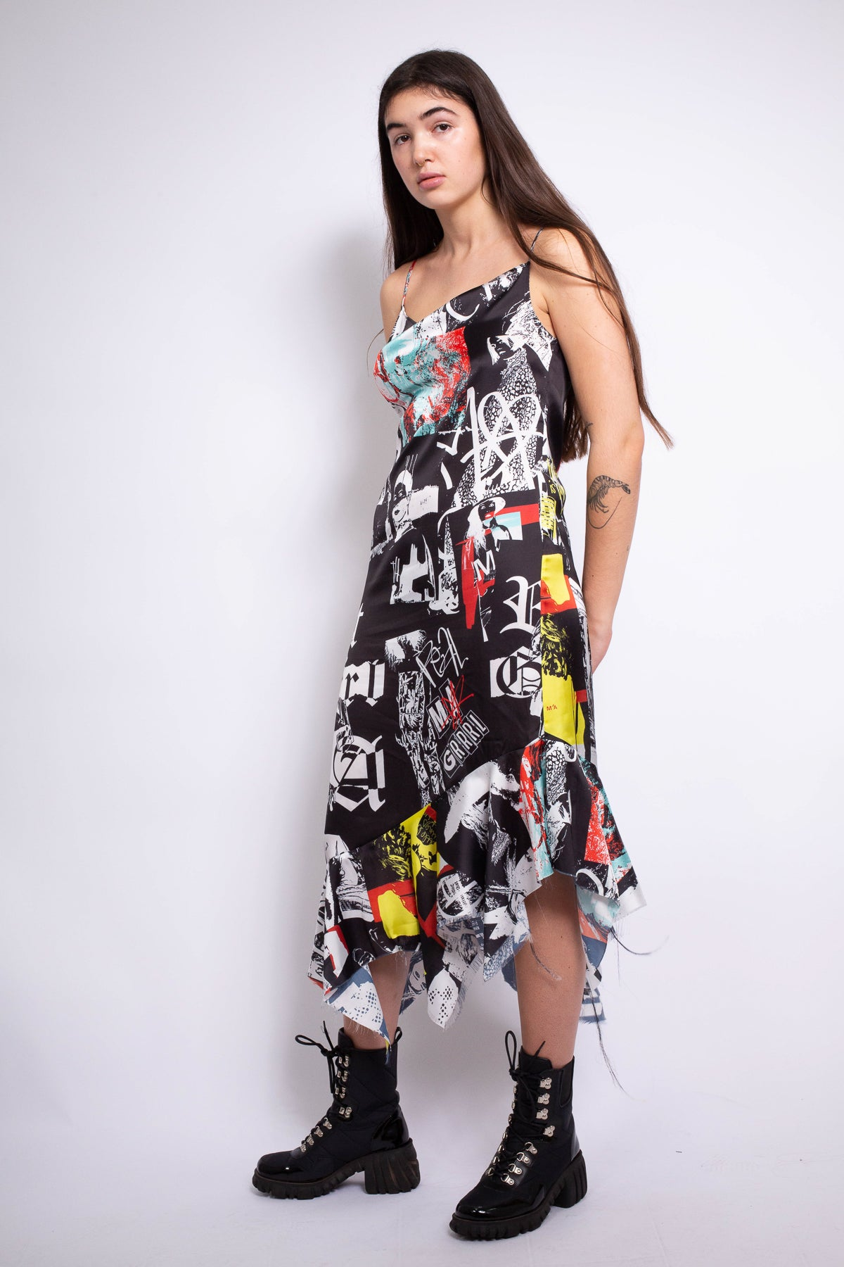 PRINTED SATIN SLIP DRESS
