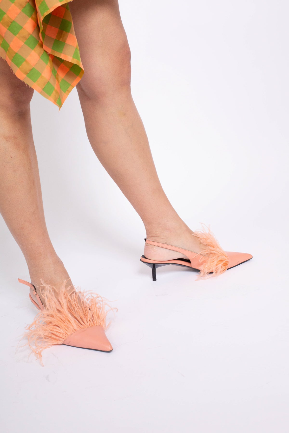 FEATHER SLING BACKS IN PINK