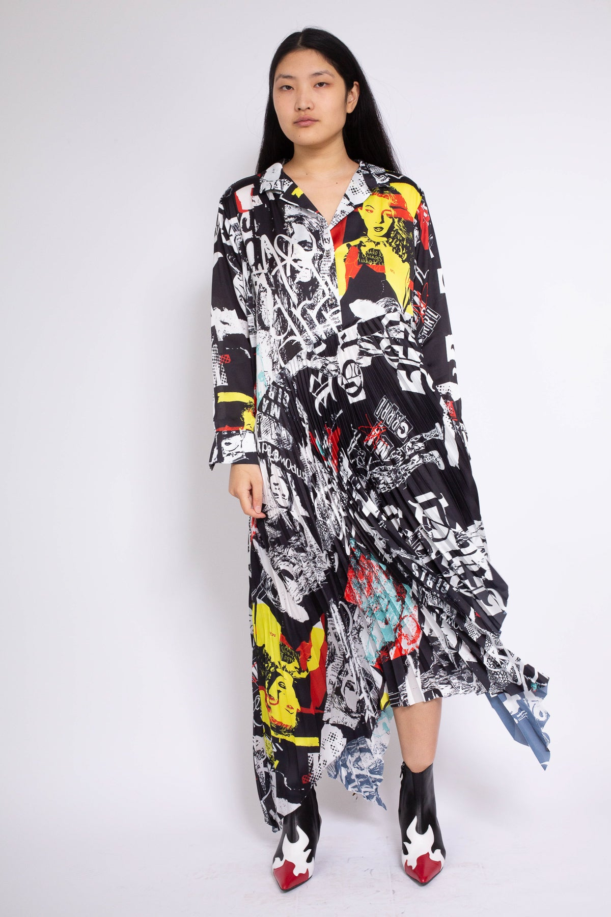 PLEATED MAXI SHIRT DRESS IN M'A RIOT GRRRL PRINT - marques-almeida-dev
