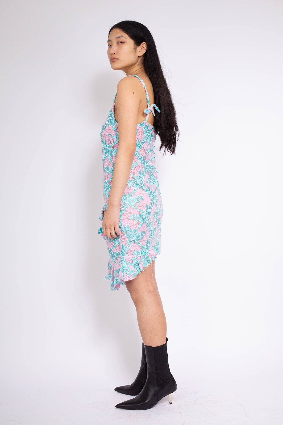 PRE-OWNED / SLIP DRESS WITH FLOUNCES & HOLES IN PINK & BLUE
