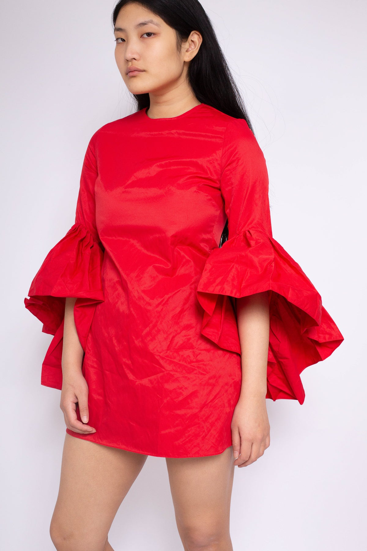 PRE-OWNED / RED OYSTER SLEEVE MINI DRESS