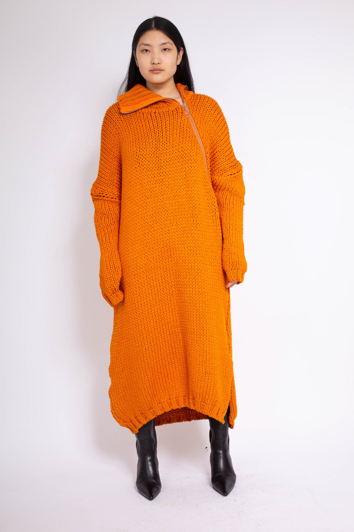 PRE-OWNED / ORANGE CHUNKI KNIT HIGH NECK DRESS - marques-almeida-dev