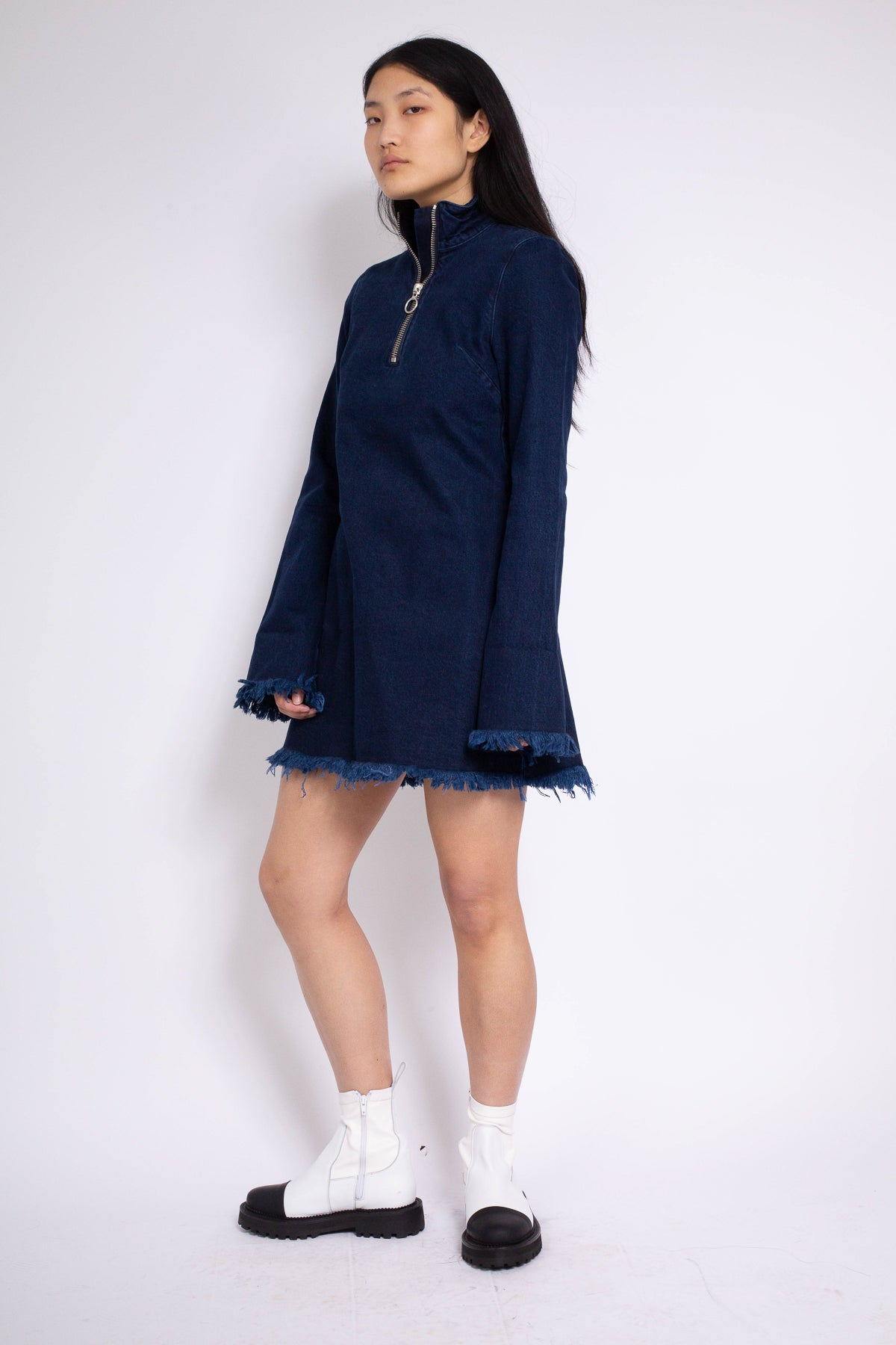 PRE-OWNED / HIGH NECK DENIM MINI DRESS IN INDIGO
