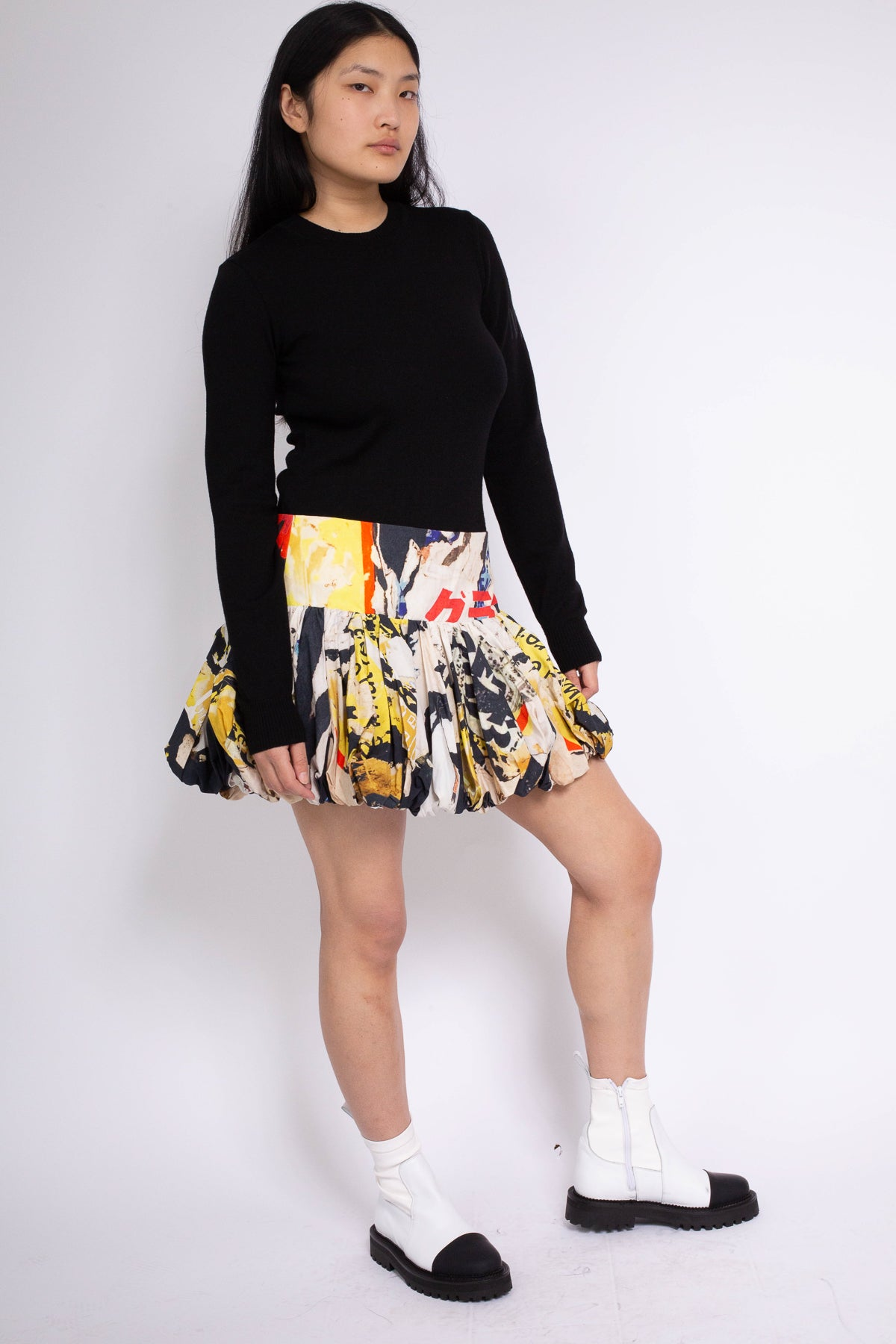 PRE-OWNED / POSTER PRINT PUFF MINI SKIRT