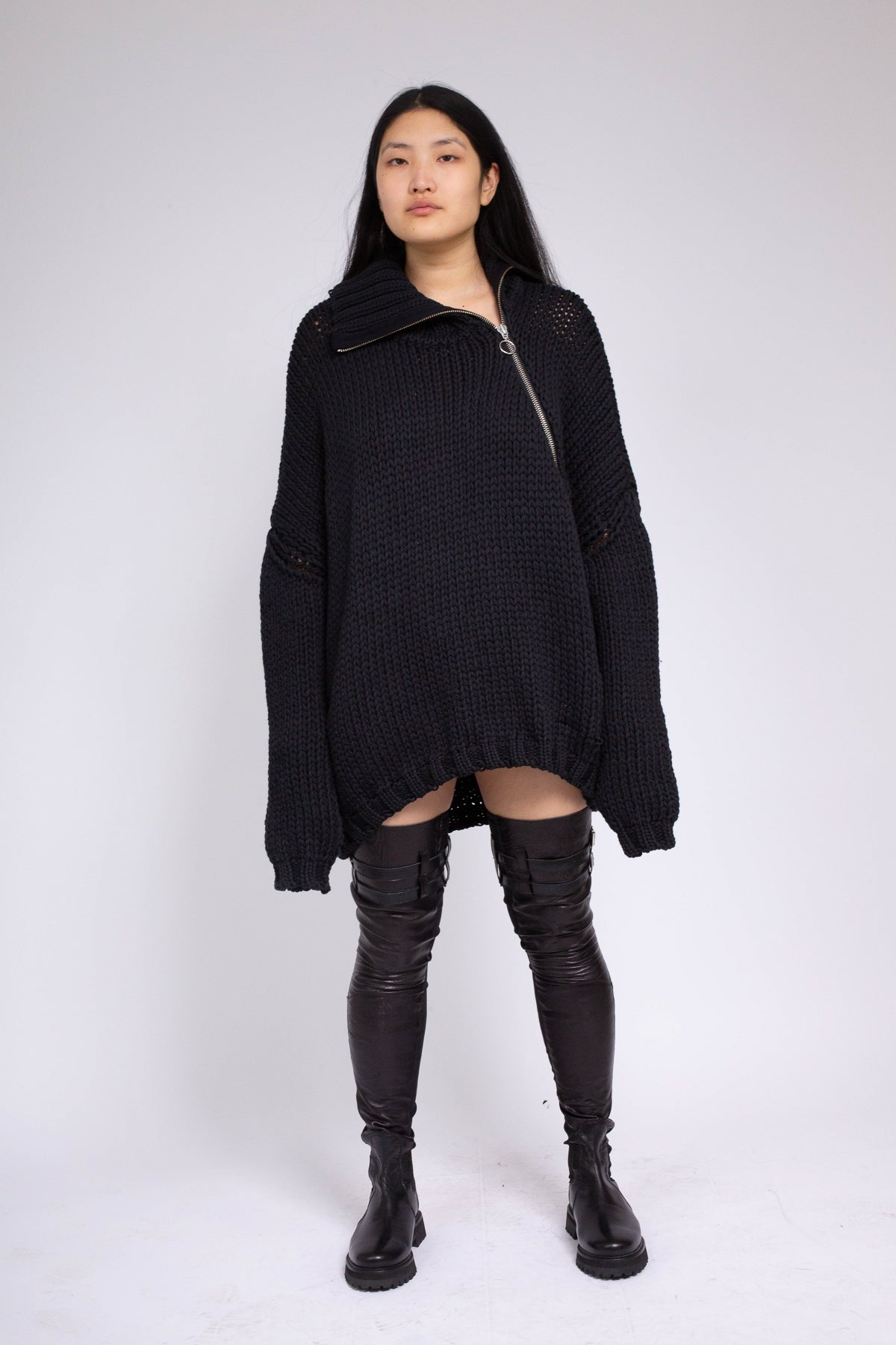 PRE-OWNED / BLACK CHUNKY KNIT HIGH NECK JUMPER - marques-almeida-dev
