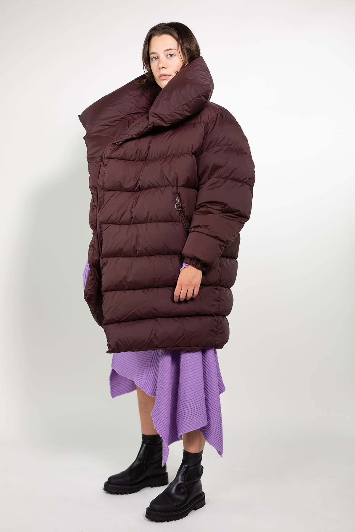 LONG M'A BROWN PUFFA JACKET