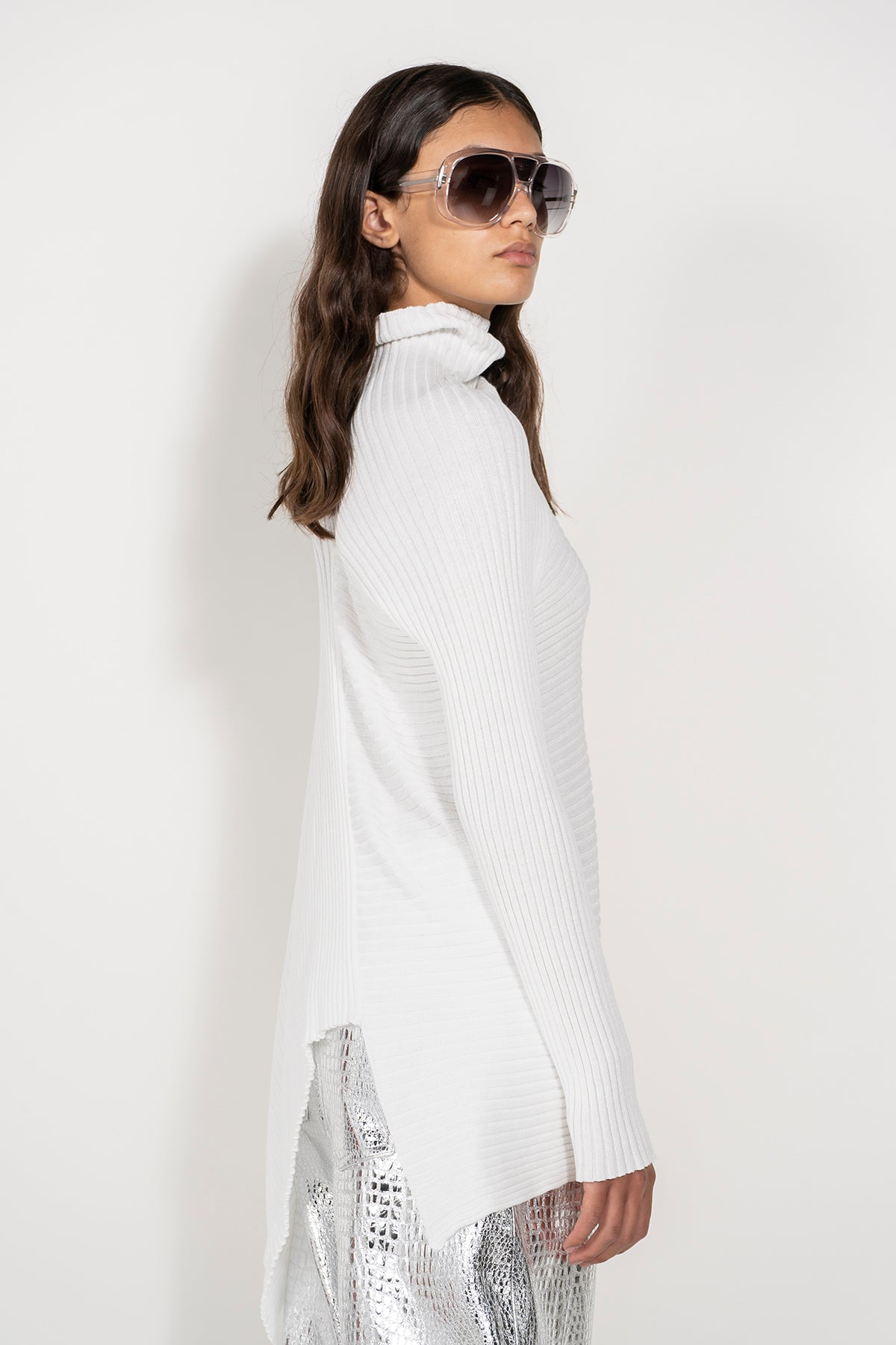 WHITE DRAPED JUMPER