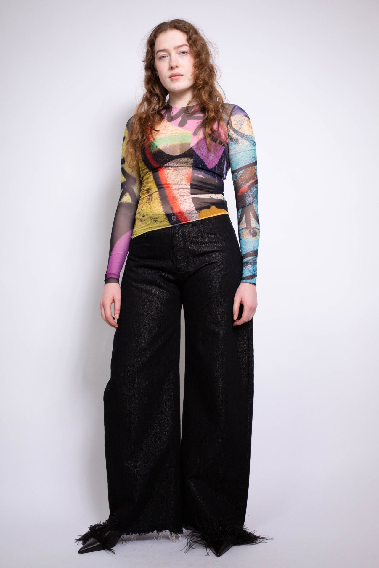 LONG SLEEVE MESH TOP IN GRAFFITI PRINT