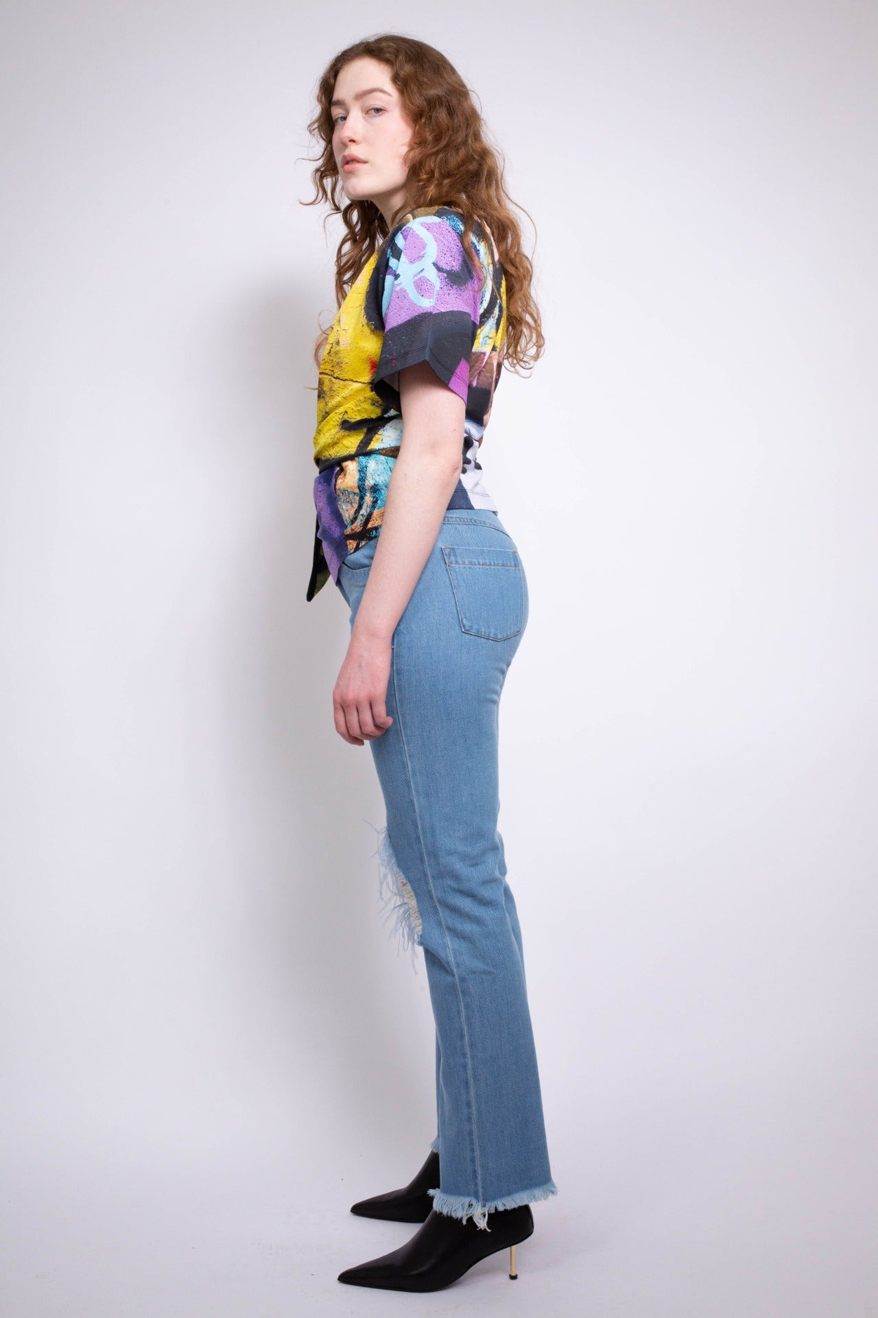 FEATHER RIP JEANS IN MID BLUE - marques-almeida-dev