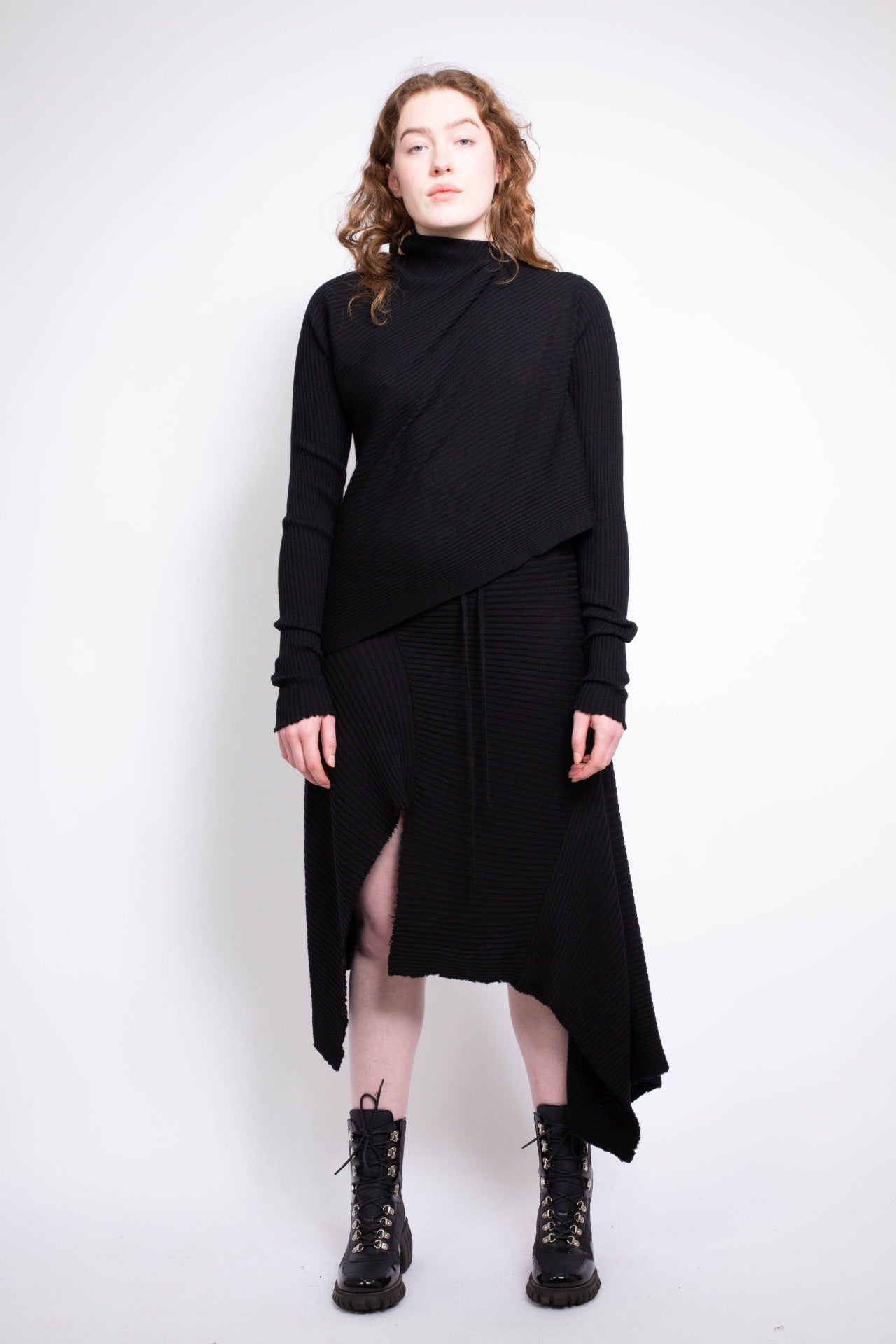 CLASSIC M'A DRAPED MERINO SKIRT IN BLACK - marques-almeida-dev