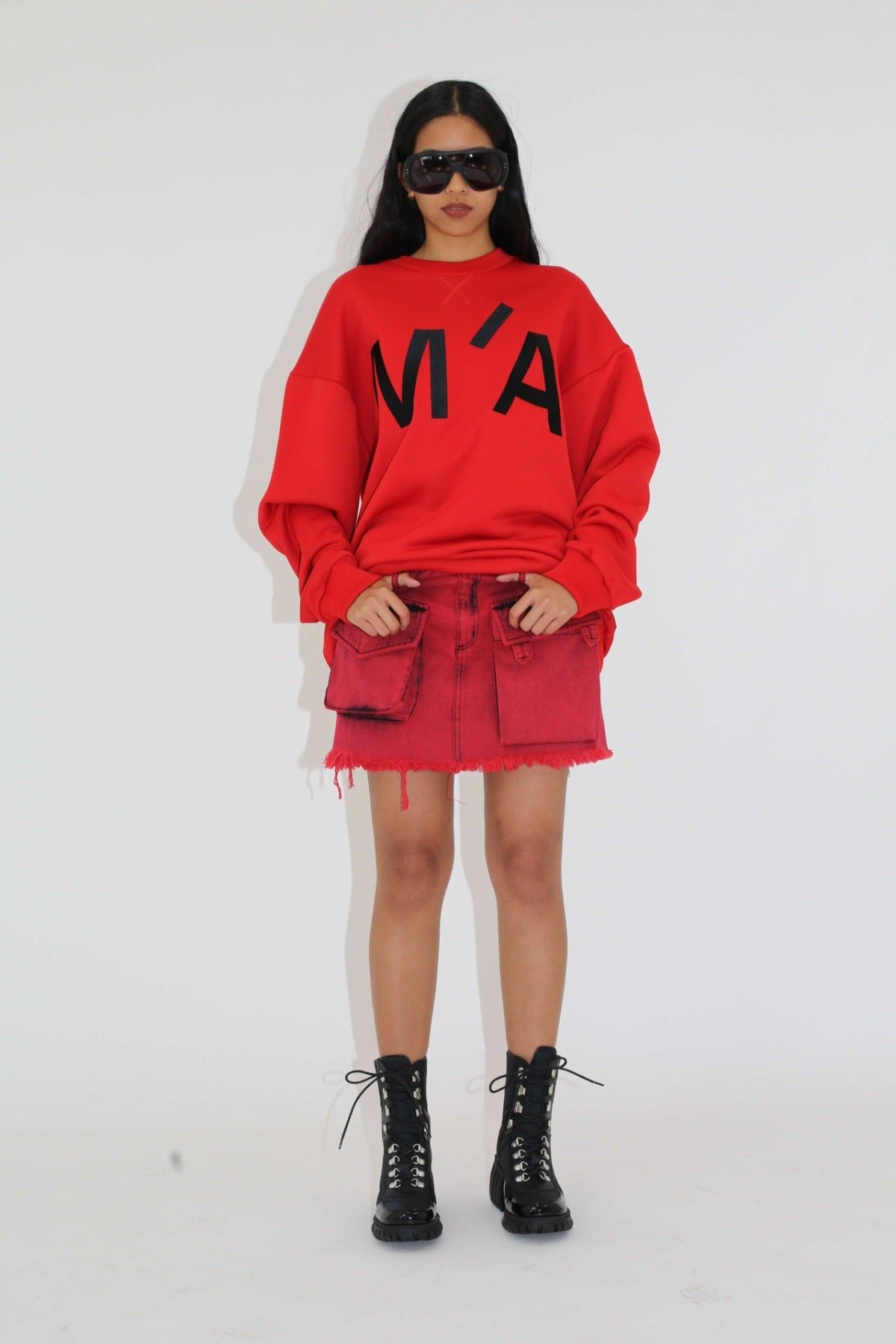PATCH POCKET MINI SKIRT IN RED marques almeida