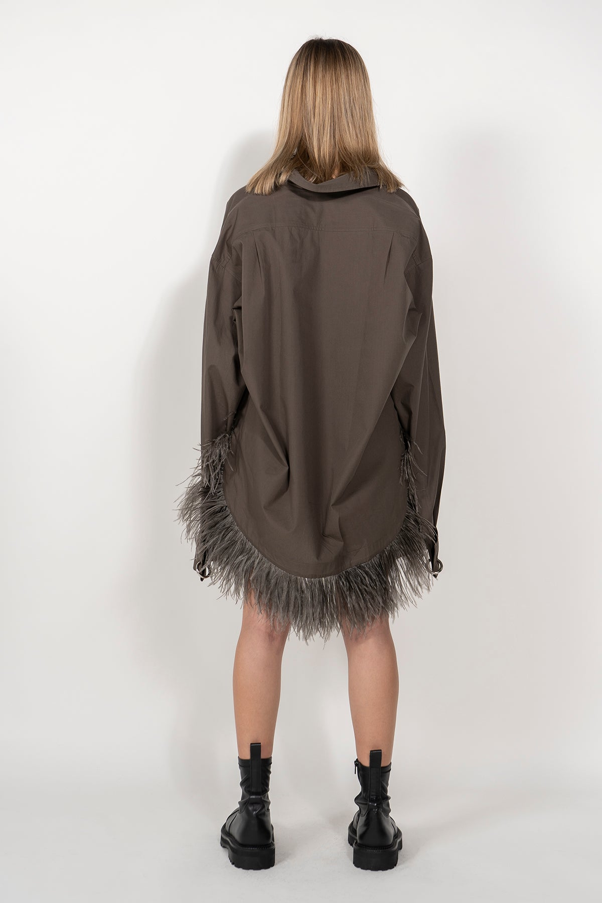 KHAKI XXL SHIRT WITH FEATHERS