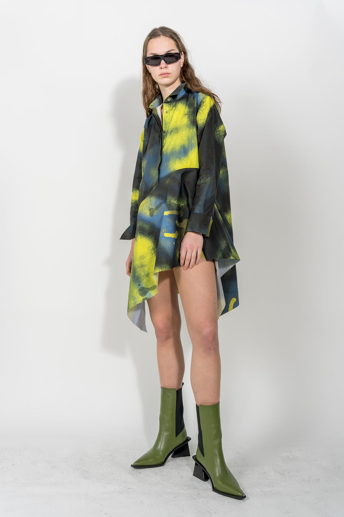 ASYMMETRIC SHIRT DRESS IN YELLOW & BLACK PRINT