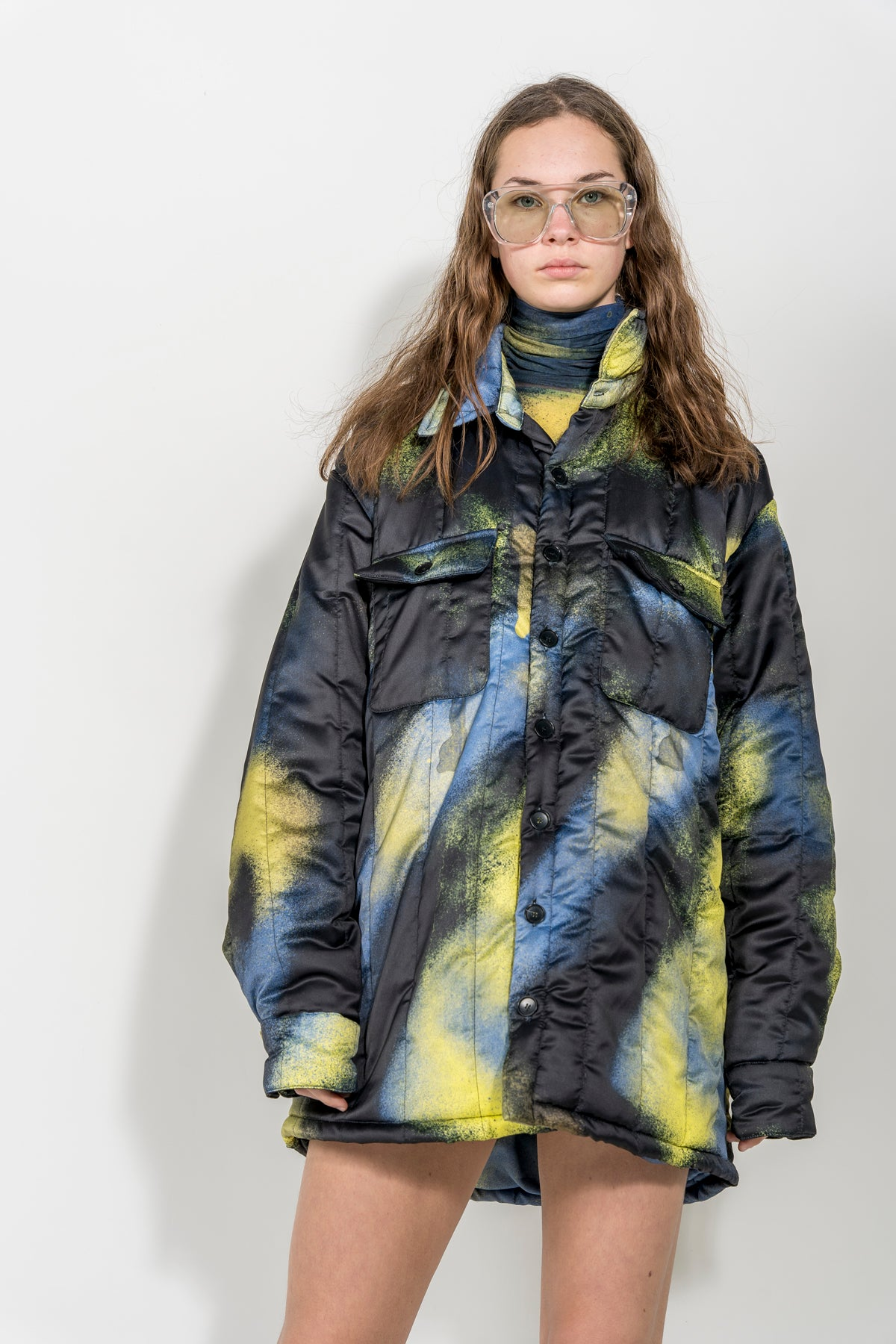 YELLOW AND BLACK PADDED OVERSHIRT marques almeida