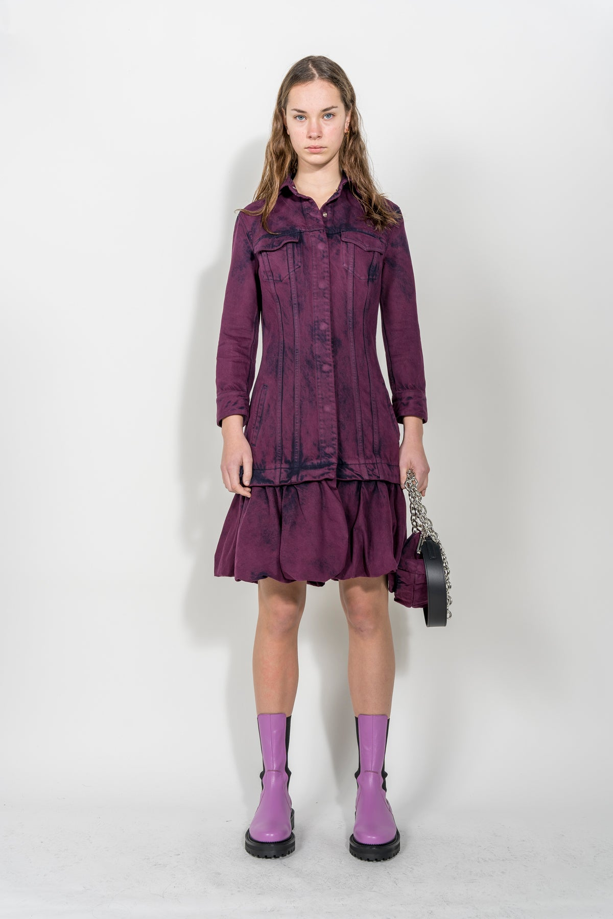 AUBERGINE FITTED COAT WITH PUFF HEM marques almeida